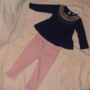Girls 18month navy blue shirt & pink jeggings pant
